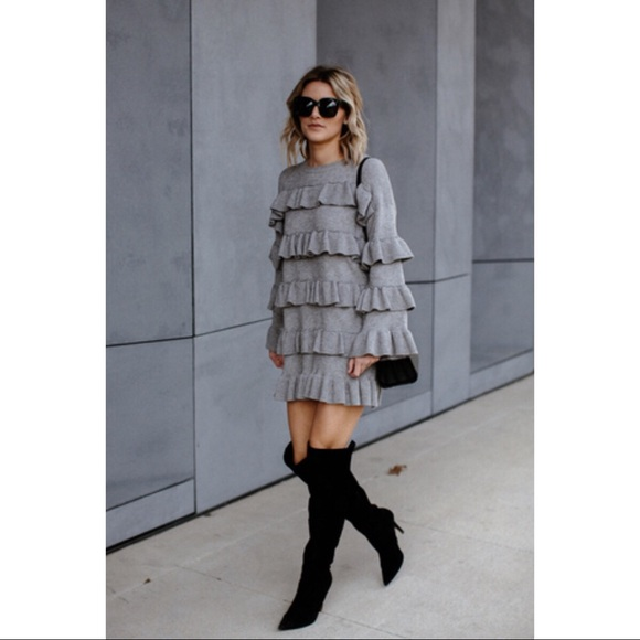 Dresses & Skirts - Gray ruffle tiered sweater dress long sleeve